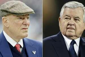 Split photo of Texans owner Bob McNair and Carolina Panthers owner Jerry Richardson.