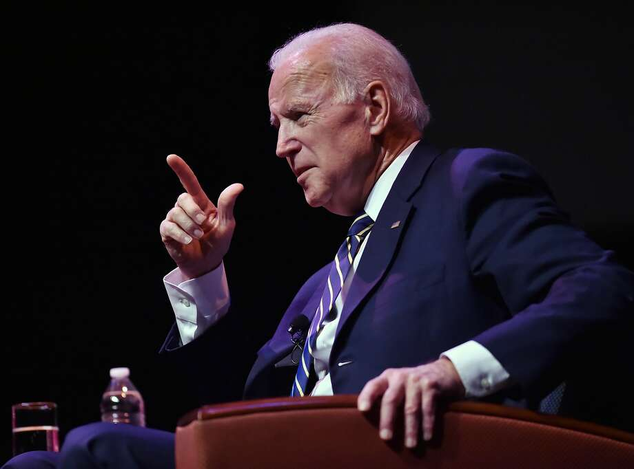 Former Vice President Joe Biden engages in a moderated conversation with WNPR Lucy Nalpathanchil at the 20th annual Mary and Louis Fusco Distinguished Lecture Series at the John Lyman Center for the Performing Arts at Southern Connecticut State University, Friday, March 23, 2018 Photo: Catherine Avalone, Hearst Connecticut Media