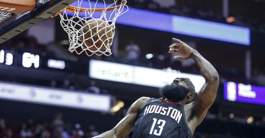 Houston Rockets guard James Harden (13) dunks the ball during the second half as the Houston Rockets take on the Atlanta Hawks at the Toyota Center Sunday, March 25, 2018 in Houston. (Michael Ciaglo / Houston Chronicle) Photo: Michael Ciaglo/Houston Chronicle