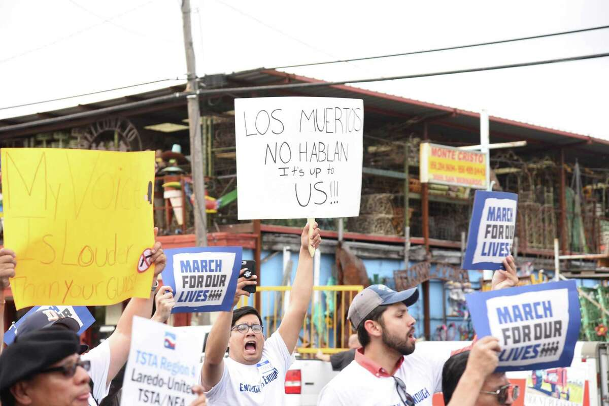 A marcher holds up his sign during the March For our Lives on San Bernardo Avenue on Saturday.