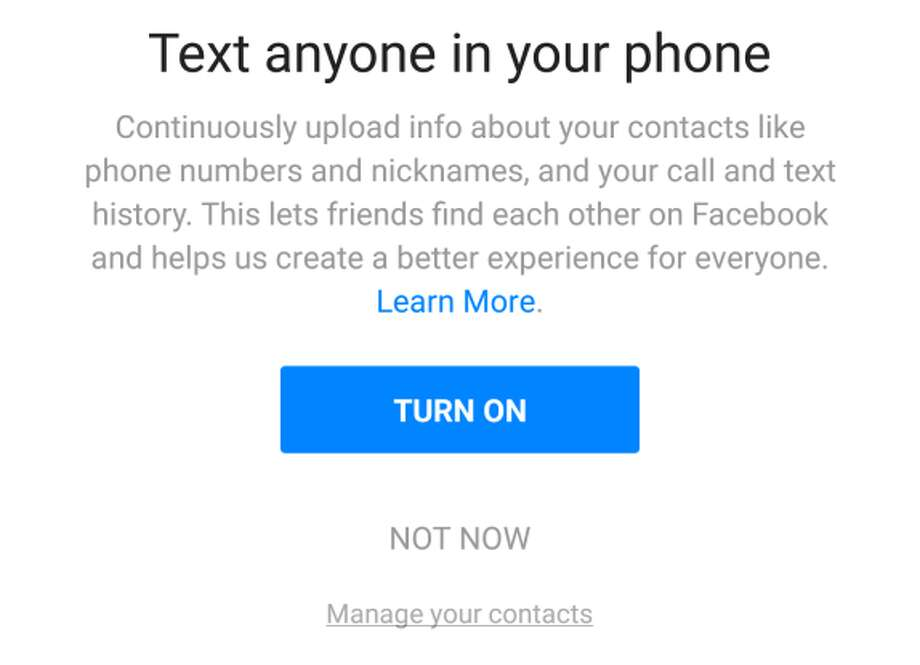 This is the permissions dialog Android users see when they install Messenger or Facebook Lite on their smartphones. It allows the logging of SMS messages and voice calls. Photo: Facebook