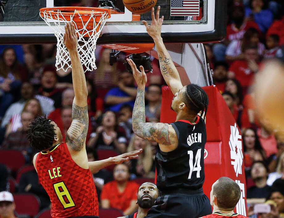 Houston Rockets guard Gerald Green (14) puts a shot up over Atlanta Hawks guard Damion Lee (8) as the Houston Rockets take on the Atlanta Hawks at the Toyota Center Sunday, March 25, 2018 in Houston. (Michael Ciaglo / Houston Chronicle) Photo: Michael Ciaglo/Houston Chronicle