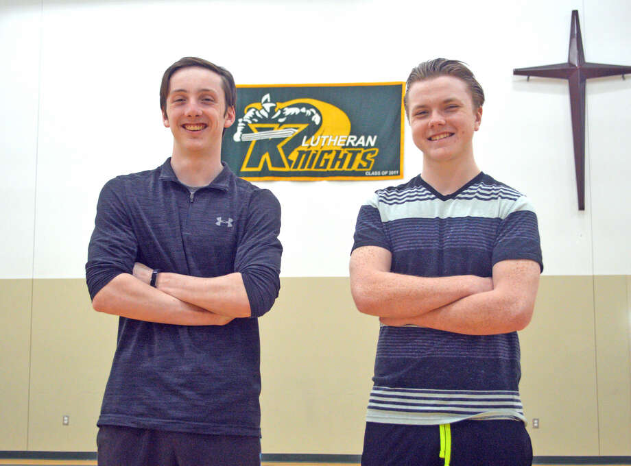 Seth Brendel (left) and Kyle Asbury are seniors on the Metro-East Lutheran track and field team. Senior Darion Brooks is not pictured.
