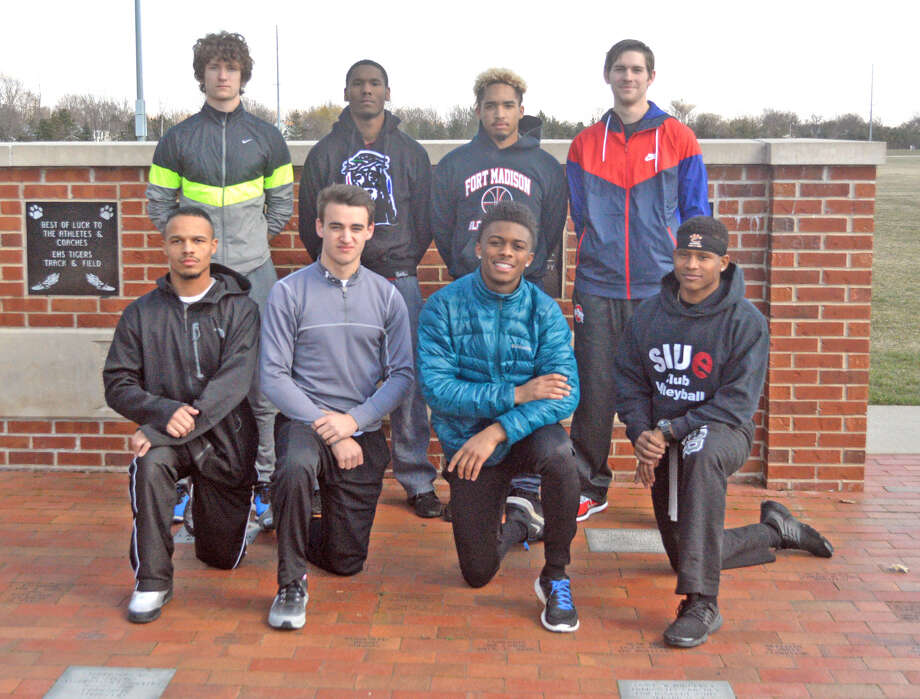 Seniors on the Edwardsville boys' track and field team include, front row left to right, Tristan Jones, Blake Neville, Jason Singliterry and Joe King. In the back row, from left to right,  are Matthew Swanson, Donovan Booker. Rodney Smith and Ben Ryan. Franky Romano, Raleigh Brazier, Andrew Meng, Holden Potter, Erik Schober. Ryan Sustain and Dean Stuart are not pictured.