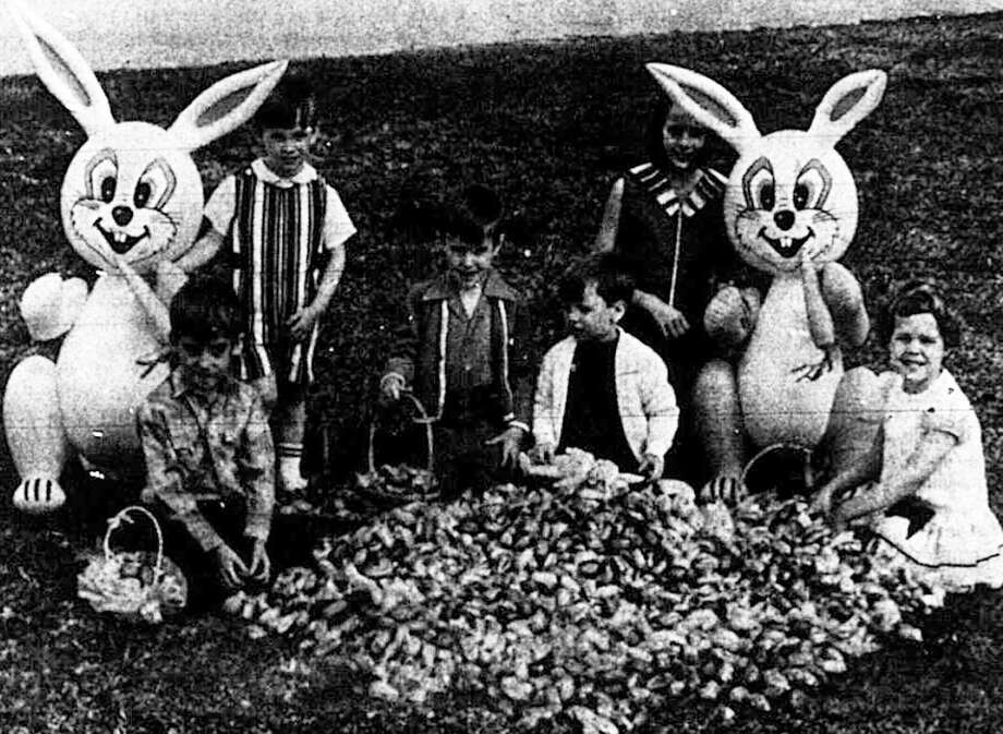 Shown left to right are Michael Stewart, Michael Deison, Robert Billingslea, Chris Walker, Dana Deison and Amy Hoke in the  March 29, 1970 Courier helping promote the annual KNRO, Moran's Gas Company Easter Egg Hunt.