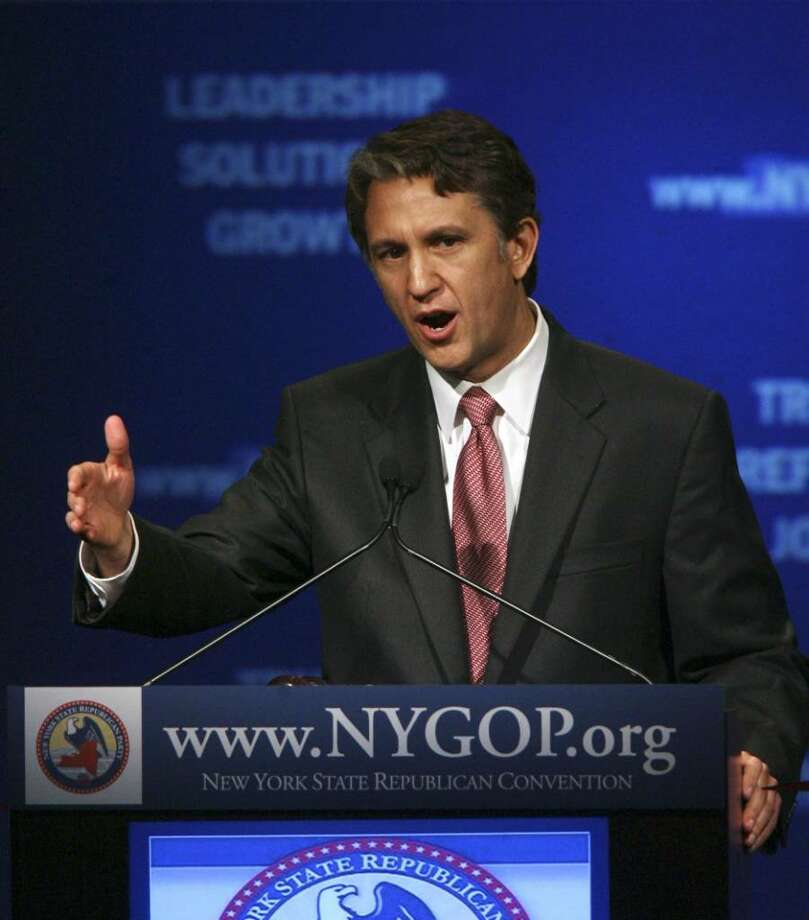 New York Republican gubernatorial candidate Rick Lazio questions the funding sources of a $100 million mosque and community center project two blocks from ground zero. Other Repubicans are also asking for an investigation. Photo: Mary Altaffer / AP