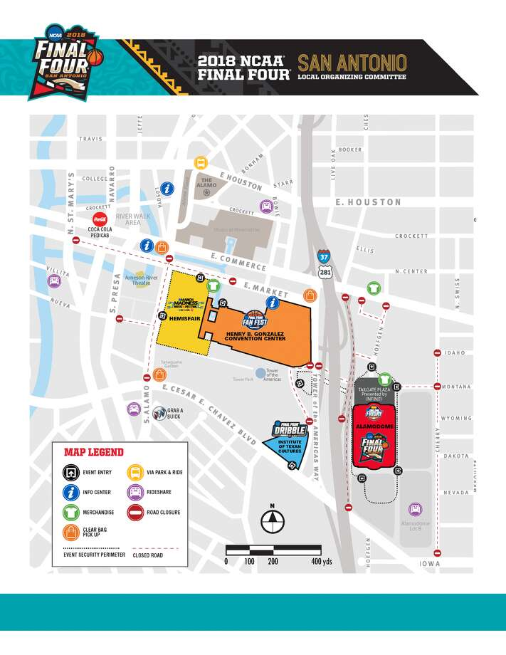 San Antonio Local Organizing Committee provided this map of roads that will be affected during Final Four weekend.