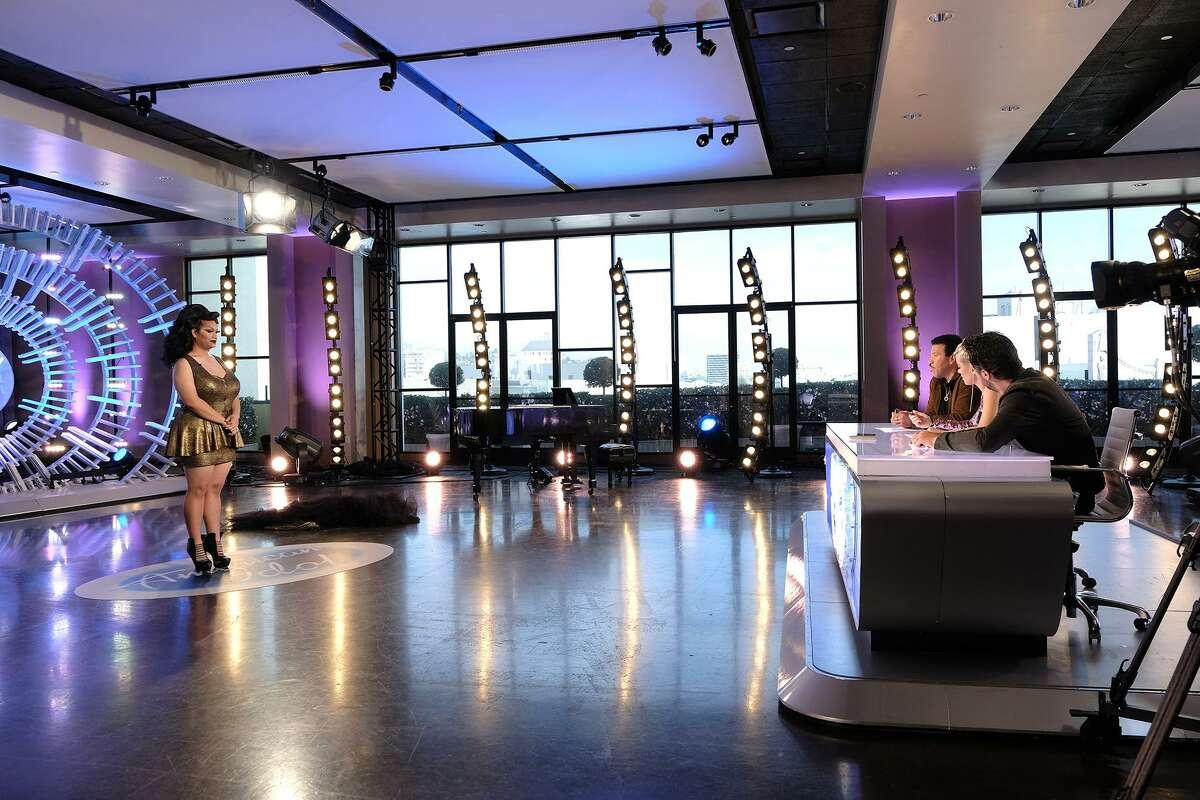 "Judges respond in various ways to the splashy entrance by Ada Vox, San Antonio's ""Idol"" contestant."