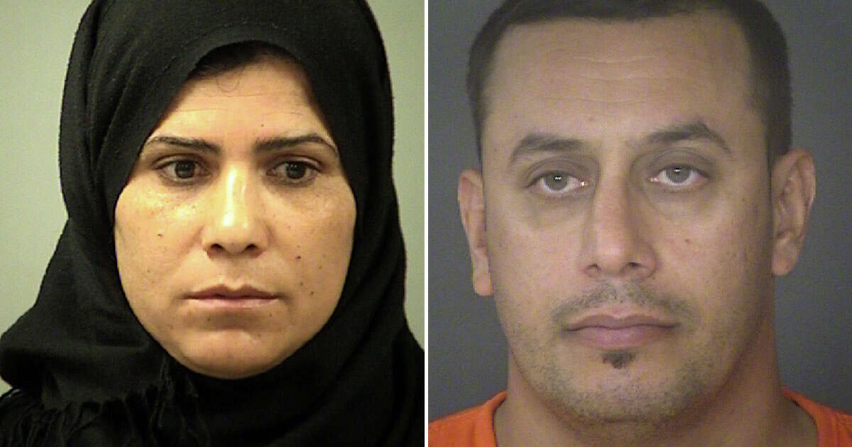 Hamdiyah Sabah Al Hishmawi (left), 33, and Abdulah Fahmi Kala Al Hishmawi, 34,were both released on Sunday from the Bexar County Jail on $30,000 bonds. They each face a felony count of continuous family violence.