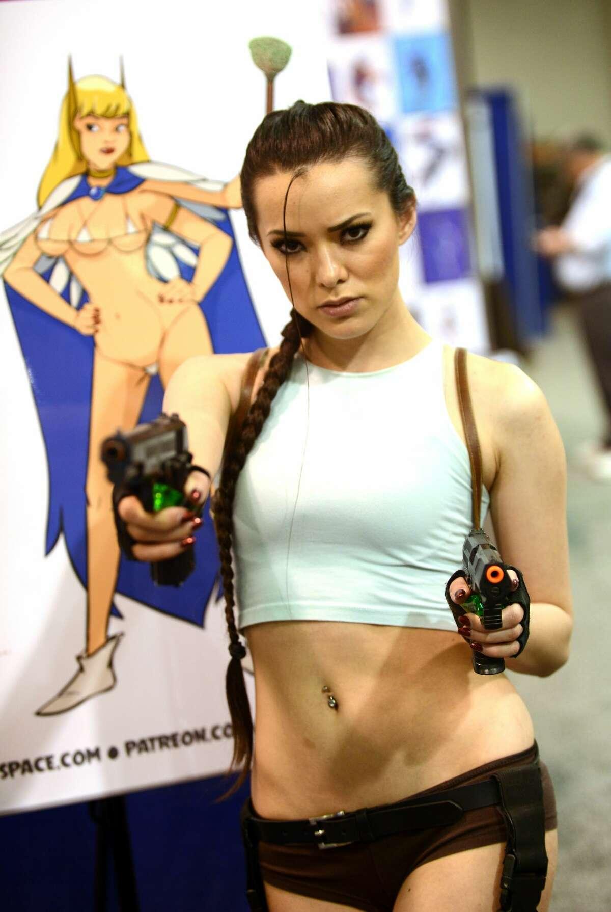 Joanie Brosas as Lara Croft attends Day 1 of WonderCon held at Anaheim Convention Center on March 23, 2018 in Anaheim, California.