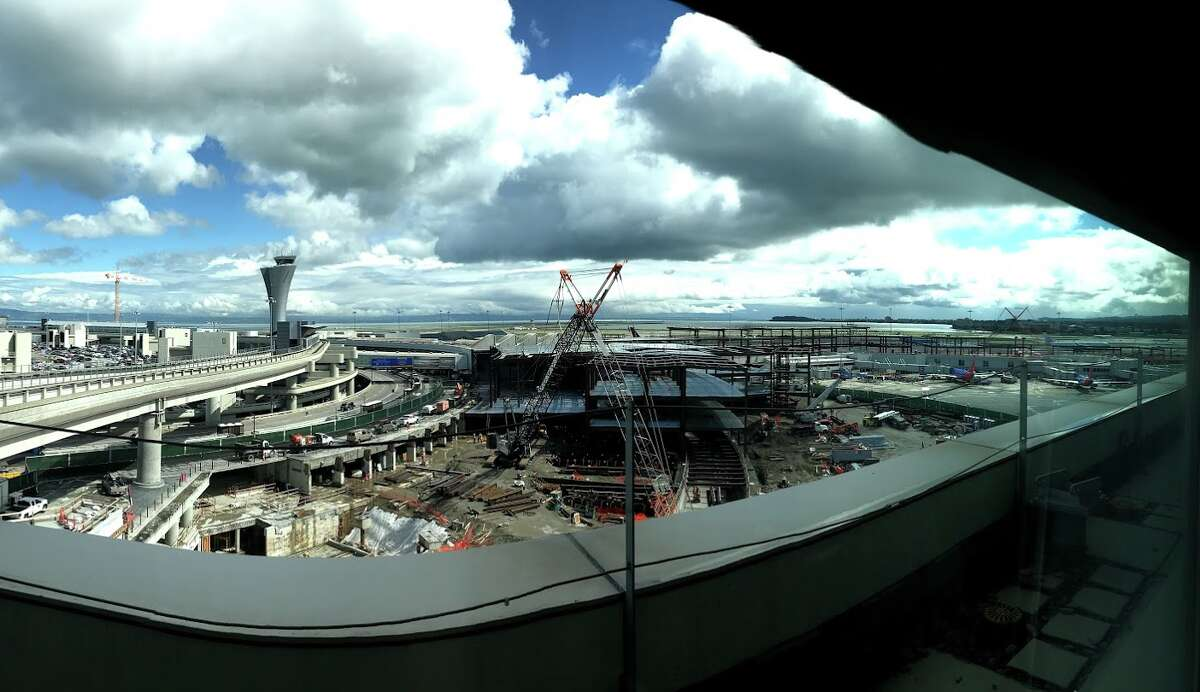Pano view of the SFO's $2.4 billion Terminal 1 project is taking shape. Phase 1 opens next year.