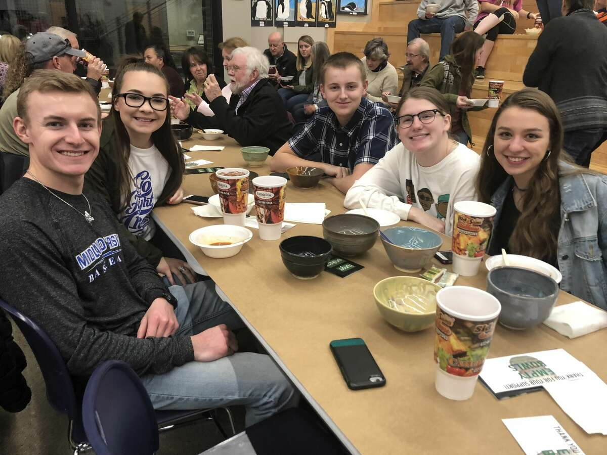Empty Bowls: Braden McAfee, from left, Jordyn Whitson, Maddox Easley, Caroline Hartzer and Audrey DeWoody