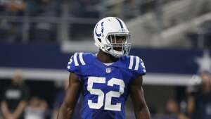 Indianapolis Colts linebacker Barkevious Mingo (52) defends against the Dallas Cowboys during the second half of a preseason NFL football game, Saturday, Aug. 19, 2017, in Arlington, Texas. (AP Photo/Michael Ainsworth)
