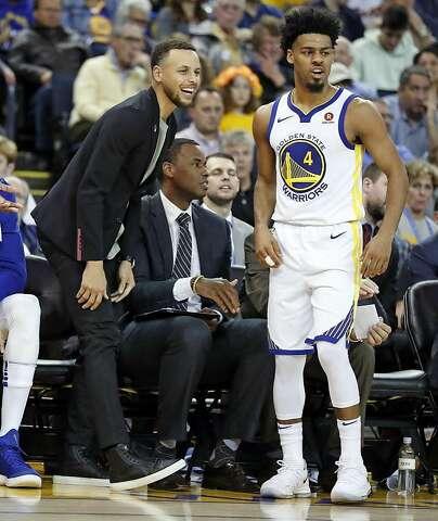 fbbecc03e50 Golden State Warriors  Stephen Curry and Quinn Cook enjoy 4th quarter  during Warriors  117