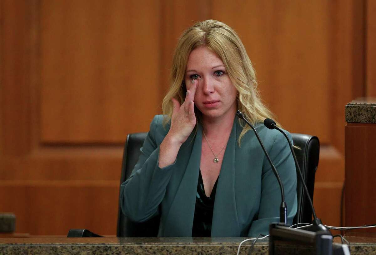 Meghan Verikas testifies during the sentencing phase of Leon Jacob's murder-for-hire trial at the Civil Courthouse Monday, March 26, 2018, in Houston. Jacob was convicted Friday.