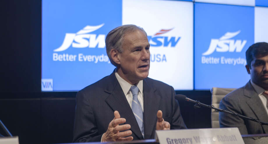 Texas Gov. Greg Abbott and Parth Jindal of JSW USA, which will expand its steel plant in Baytown, Texas, spoke at a press conference on Monday, March 26, 2018, at the Mumbai, India, headquarters of the company's parent, JSW Group.