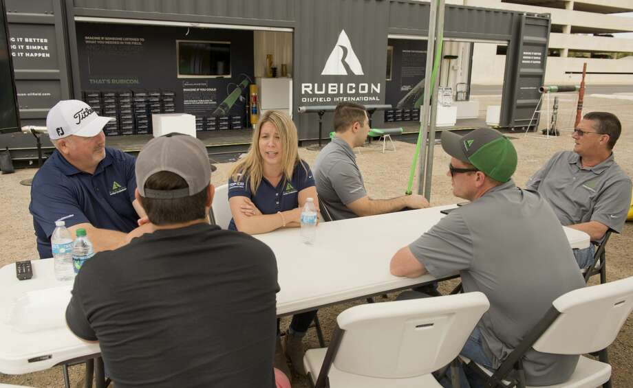 Rubicon Oilfield International, out of Houston, Tx, brought staff members to talk with potential clients 03/26/18 with a portable display booth set up at the corner of Illinois Ave and Big Spring Street. Rubicon will be on hand through Wednesday to talk with clients about emerging downhole drilling technology and provide answers to any questions. Tim Fischer/Reporter-Telegram Photo: Tim Fischer/Midland Reporter-Telegram