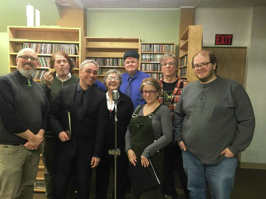 WAPJ radio in Torrington recently announced the launch of a new program, Nutmeg Junction, an old-fashioned scripted radio program, with performances by actors J. Timothy Quirk, Kurt Boucher, Rich Cyr, Robert C. Fullerton, Jandi Hanna, Josh Newey, Lana Peck, Caroline Sienkiewicz and Conrad Sienkiewicz. Photo: Photo Contributed By K. Timothy Quirk