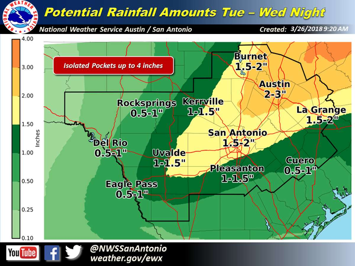 Severe storms and hail is expected in the San Antonio area on Tuesday and Wednesday, March 27 and 28, 2018.