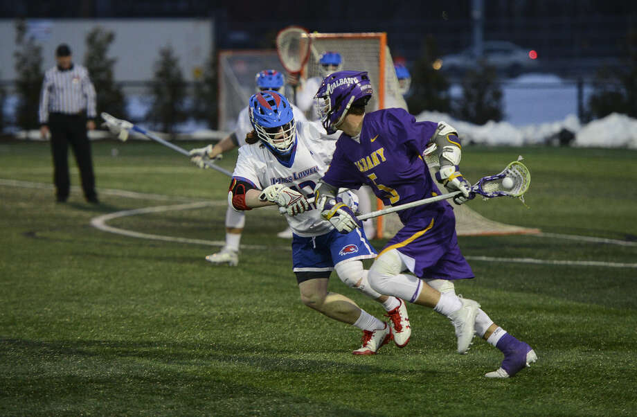 UAlbany senior attack Connor Fields injured his knee at UMass Lowell on Saturday. (UMass Lowell athletic communications)