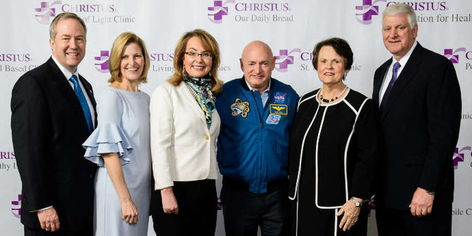 Christus Foundation for HealthCare honored Dr. and Mrs. Donald R. Collins Jr. with the Legacy Award at its 14th annual spring luncheon on March 20. From left are  Dr. Don Collins JR., Janet Collins, former U.S. Congresswoman Gabrielle Giffords, retired American astronaut Mark Kelly, JoAnn Allspach and Gene Allspach. Photo: Christus Foundation For HealthCare