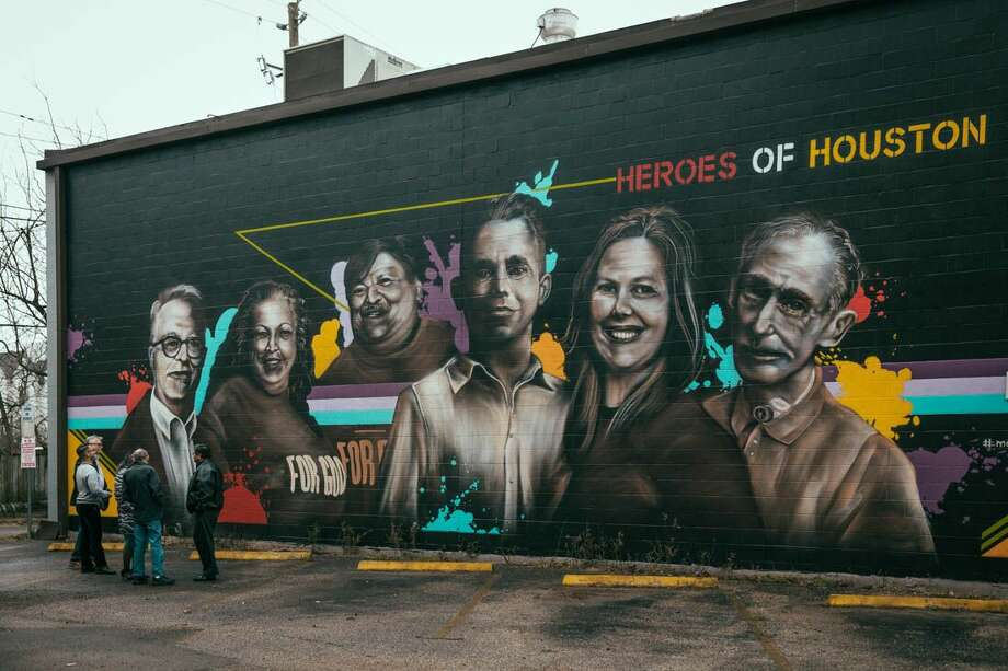 Joy McCormack, Michael Barton, Mark E. Steiner, Enrique and Julia Uresti and Tom Ashworth, Shell's Heroes of Houston, were honored with a mural. Photo: Shell