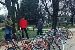 Fifteen or so people rode vintage bicycles from the parking lot near Market Basket to Leclaire Park in Edwardsville. Steady rains on Saturday forced the Gateway Coasters Vintage Bicycle Group to reschedule Le Tour Leclaire Vintage Bicycle Ride to Sunday morning. Steve Gray, a member of the group who lives in Glen Carbon, said that some riders took the short route over to the Bike Factory, on Franklin Avenue, while others set out on a 13-mile loop on the Madison County trails.