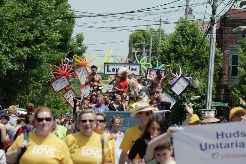 People make their way down Lark Street during the Albany Pride Parade on Sunday, June 11, 2017, in Albany, N.Y. (Paul Buckowski / Times Union)