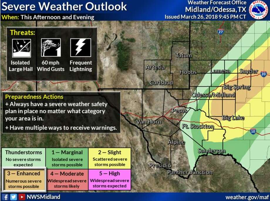 Thunderstorms will be possible today and tonight, mainly over the Western Low Rolling Plains, Permian Basin, and lower Trans Pecos. Any storms that do develop will be accompanied by frequent lightning and brief heavy rainfall. Some storms may be strong to severe, mainly along and east of a Snyder to McCamey line, with large hail and damaging winds. Photo: National Weather Service