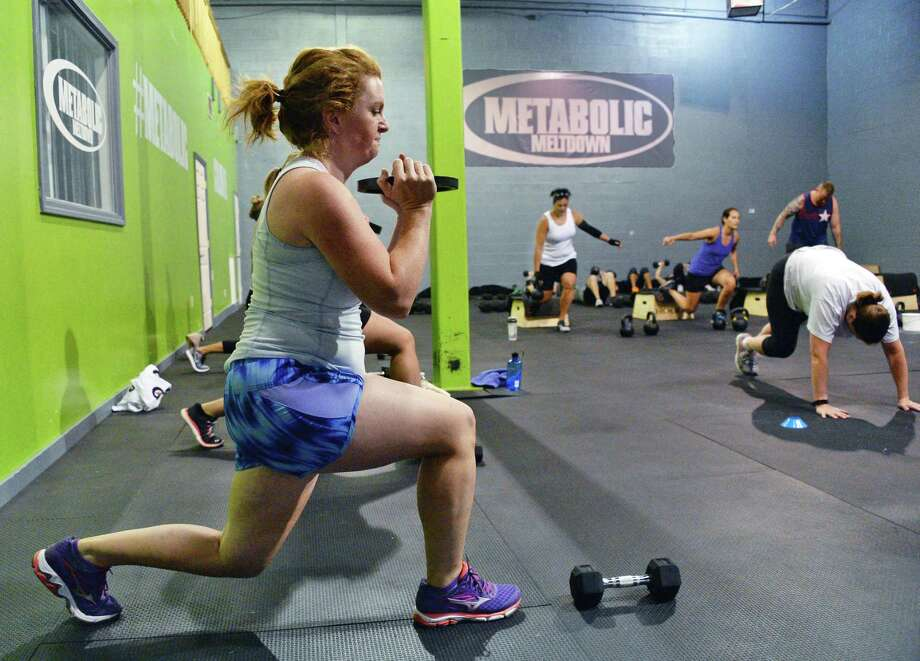 Times Union writer Leigh Hornbeck takes a class at Metabolic Meltdown Wednesday June 21, 2017 in Colonie, NY.  (John Carl D'Annibale / Times Union) Photo: John Carl D'Annibale / 20040849A