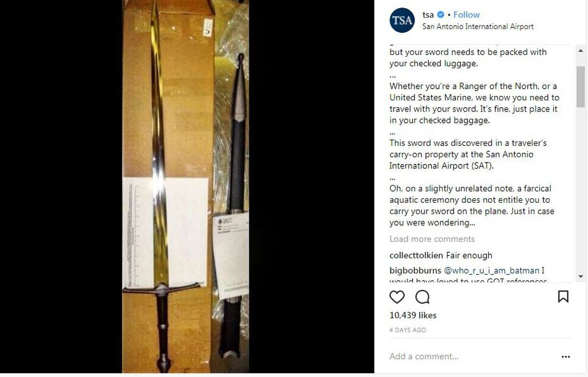 After a sword was found in a traveler's bag in San Antonio, the TSA had jokes about it.