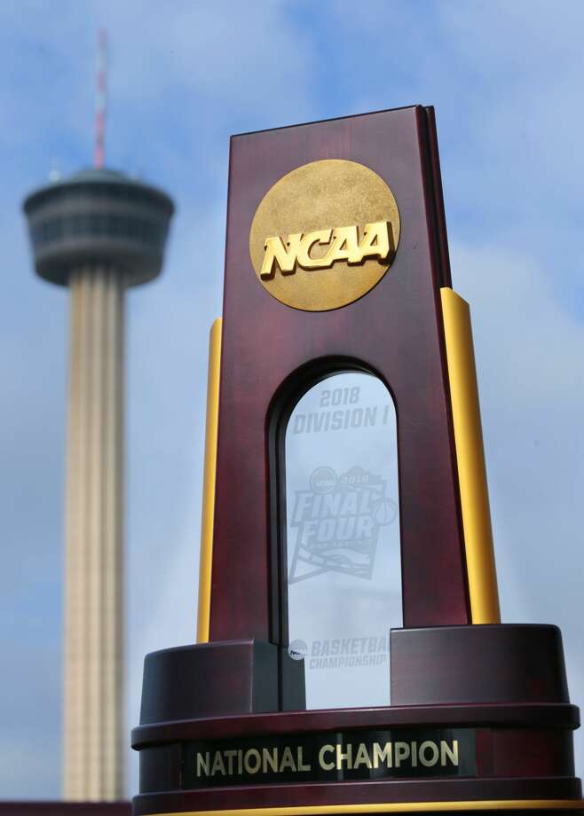 The NCAA Men's Final Four National Championship trophy in San Antonio, TX. Photo: NCAA Photos/NCAA Photos Via Getty Images