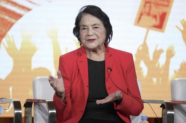 "In this Jan. 16, 2018, file photo, Dolores Huerta participates in the ""Dolores"" panel during the PBS Television Critics Association Winter Press Tour in Pasadena, Calif. Huerta, the social activist who formed a farm workers union with César Chávez and whose ""Si, Se Puede"" chant inspired Barack Obama's 2008 presidential campaign slogan, is the subject of a new PBS documentary. The film ""Dolores"" examines the life of the New Mexico-born Mexican-American reformer from her time as a tireless United Farm Workers leader and a campaign volunteer for Sen. Robert Kennedy's 1968 presidential run."