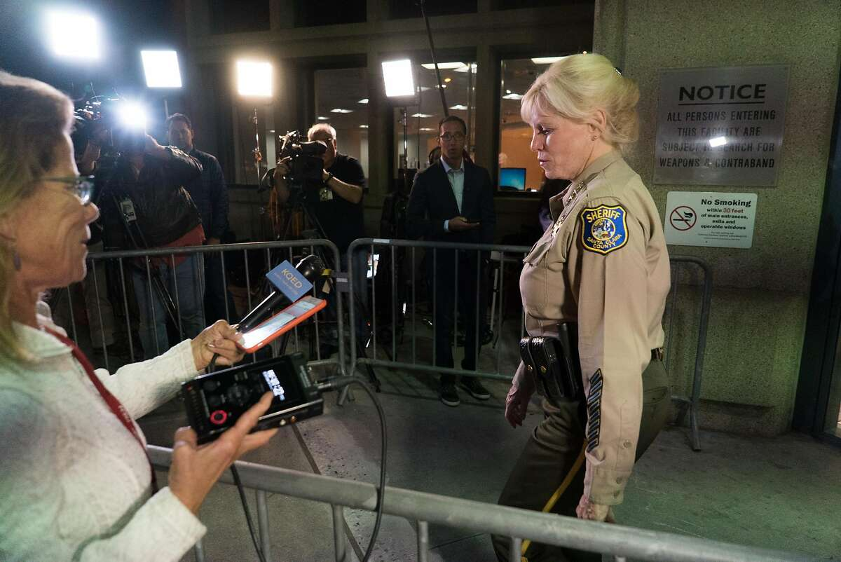 Sheriff Laurie Smith prepares to address media before Brock Turner's release at the Santa Clara County Clara County Main Jail in San Jose, Calif. on Friday, Sept. 2, 2016. Turner was released early from jail after serving time for sexually assaulting a woman at Stanford.