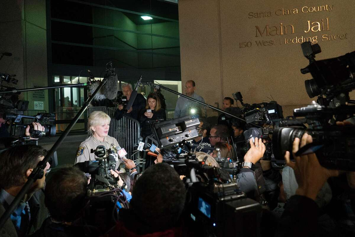 Sheriff Laurie Smith addresses the media before Brock Turner's release at the Santa Clara County Main Jail in San Jose, Calif. on Friday, Sept. 2, 2016. Turner was released early from jail after serving time for sexually assaulting a woman at Stanford.