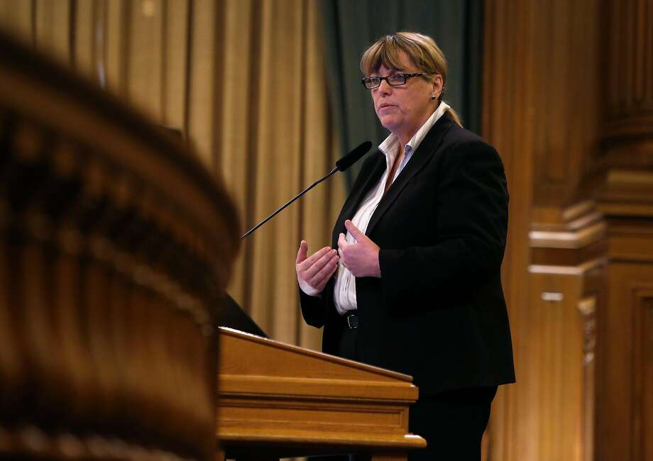 Sheriff Vicki Hennessy appears before a Board of Supervisors public safety committee considering changes to the city's due process for all and sanctuary policies during a hearing at City Hall in San Francisco, Calif. on Thursday, April 7, 2016. Photo: Paul Chinn, The Chronicle