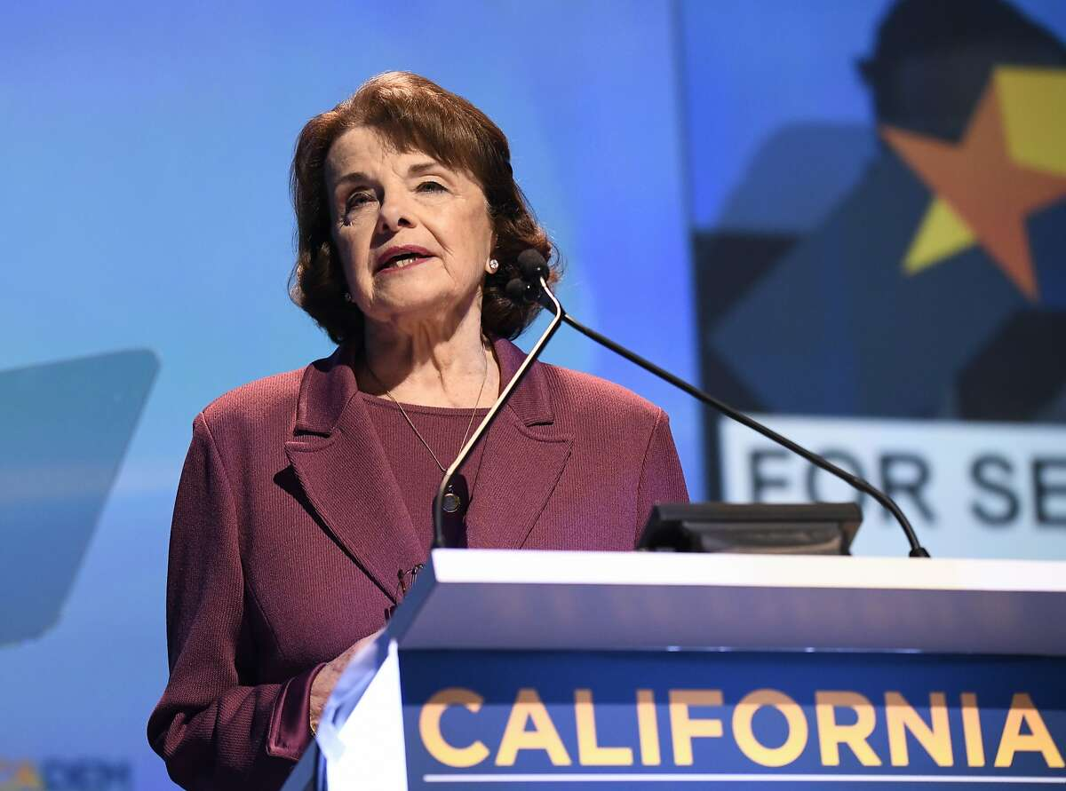 Sen. Dianne Feinstein, D-Calif., speaks at the 2018 California Democrats State Convention Saturday, Feb. 24, 2018, in San Diego. (AP Photo/Denis Poroy)