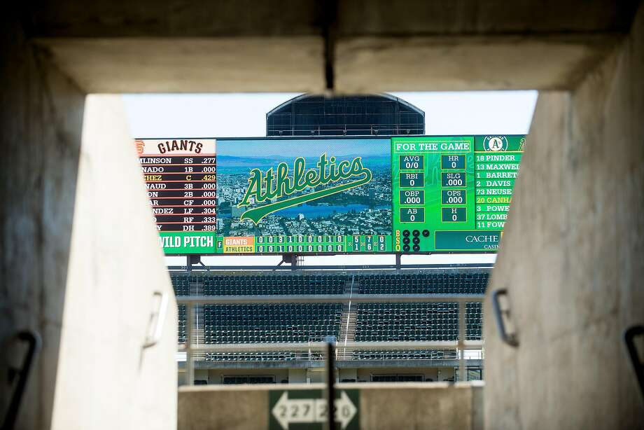 A scoreboard displays results from Sunday's Giants vs. A's game at the Oakland Alameda County Coliseum. Photo: Noah Berger, Special To The Chronicle