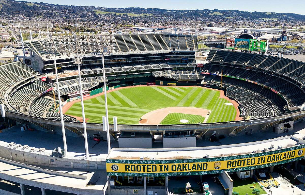 The Oakland's A's stadium is pictured at the Oakland Alameda Coliseum on Monday, March 26, 2018, in Oakland.