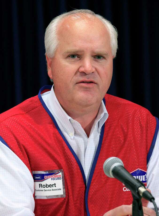 FILE- In this Nov. 8, 2012, file photo, Chairman and CEO of Lowe's Robert Niblock attends a news conference in New York. Niblock, who's worked for the home improvement retailer for 25 years, is retiring. Niblock will stay in his roles on an interim basis while Lowe's looks for a successor. (AP Photo/Richard Drew, File) Photo: Richard Drew / Copyright 2018 The Associated Press. All rights reserved.