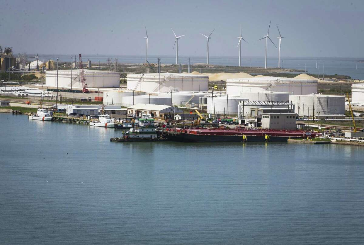 Oil storage tanks line the Port of Corpus Christi, which is a key export hub for crude oil.