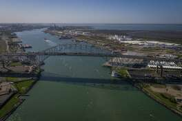 The Harbor Bridge crosses over the Port of Corpus Christi, where billions of dollars are being invested to export Texas energy products.