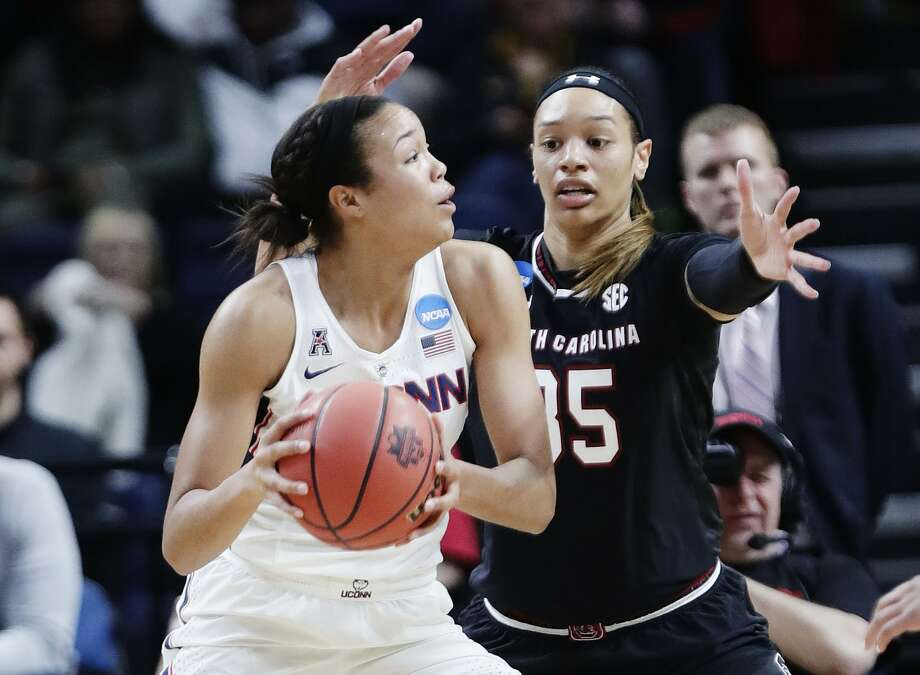 South Carolina's Alexis Jennings against UConn's Napheesa Collier during the first half of a regional final on Monday in Albany, N.Y. Photo: Frank Franklin II / Associated Press / Copyright 2018 The Associated Press. All rights reserved.