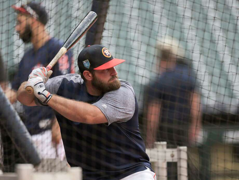 Houston Astros third baseman Tyler White (13) gets ready to hit a ball during batting practice before a pre-season game agianst the Milwaukee Brewers at Minute Maid Park on Monday, March 26, 2018, in Houston. Photo: Elizabeth Conley, Houston Chronicle / © 2018 Houston Chronicle
