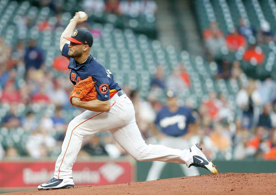 Houston Astros pitcher LanceMcCullers Jr (43)  pitches in the first inning against Milwaukee Brewers right fielder Lorenzo Cain (6) at Minute Maid Park on Monday, March 26, 2018, in Houston. Photo: Elizabeth Conley, Houston Chronicle / © 2018 Houston Chronicle