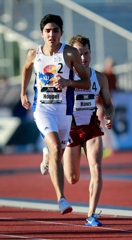 University of Kansas runner and Midland High graduate Bryce Hoppel (2) is seen here competing during the 2017 Big 12 Outdoor Track and Field Championships in Lawrence, Kan. Photo courtesy of Kansas Athletics