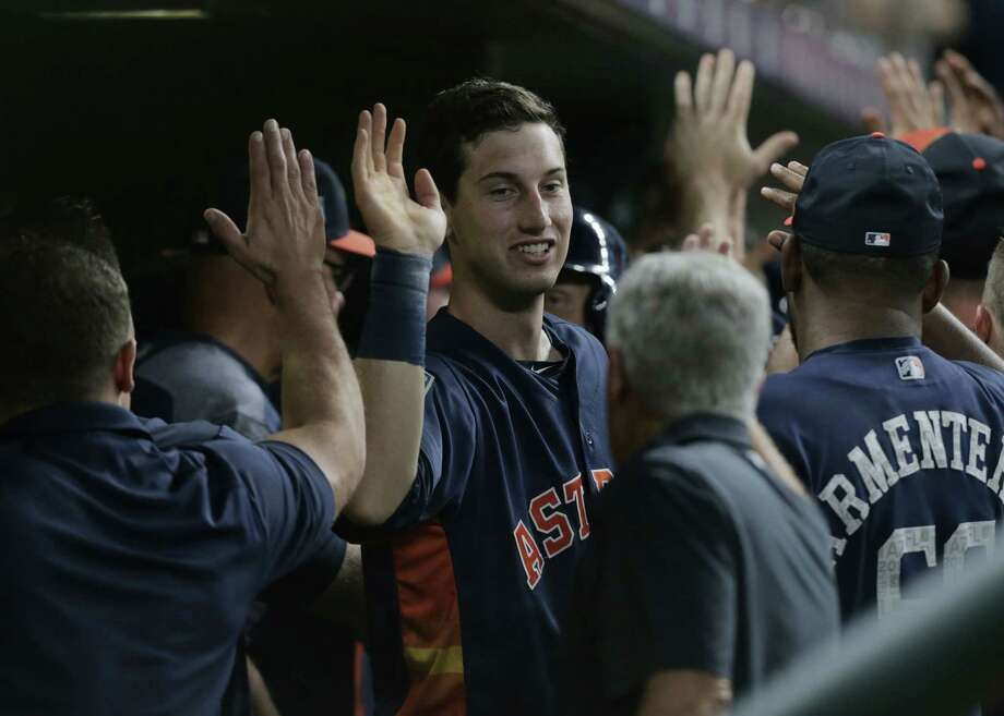 Houston Astros Kyle Tucker (79) is congratulated after hitting a grand slam in the seventh inning  against the Milwaukee Brewers at Minute Maid Park on Monday, March 26, 2018, in Houston. Photo: Elizabeth Conley, Houston Chronicle / © 2018 Houston Chronicle