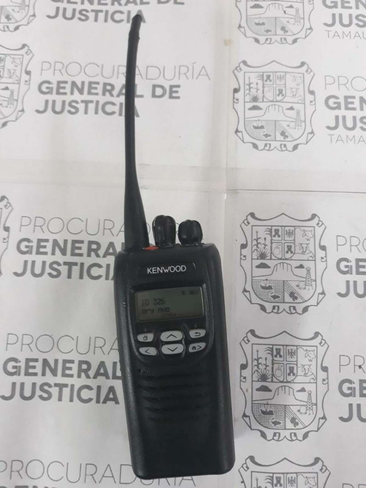 The radio pictured was seized by authorities after they arrested a man who acts as a lookout for a criminal group in Nuevo Laredo.