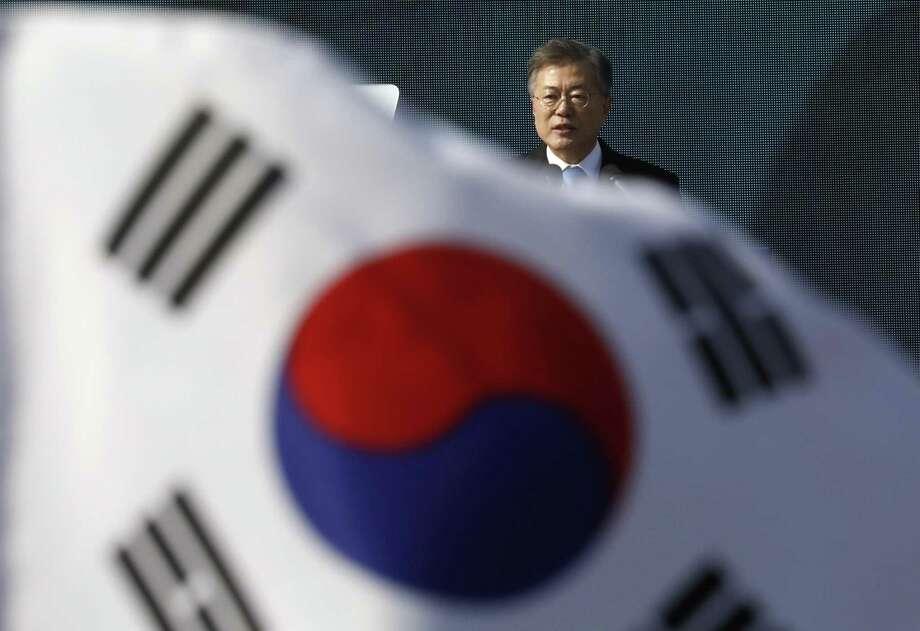 South Korean President Moon Jae-in delivers a speech this month. Photo: Kim Hong-ji, POOL / Associated Press / POOL Reuters