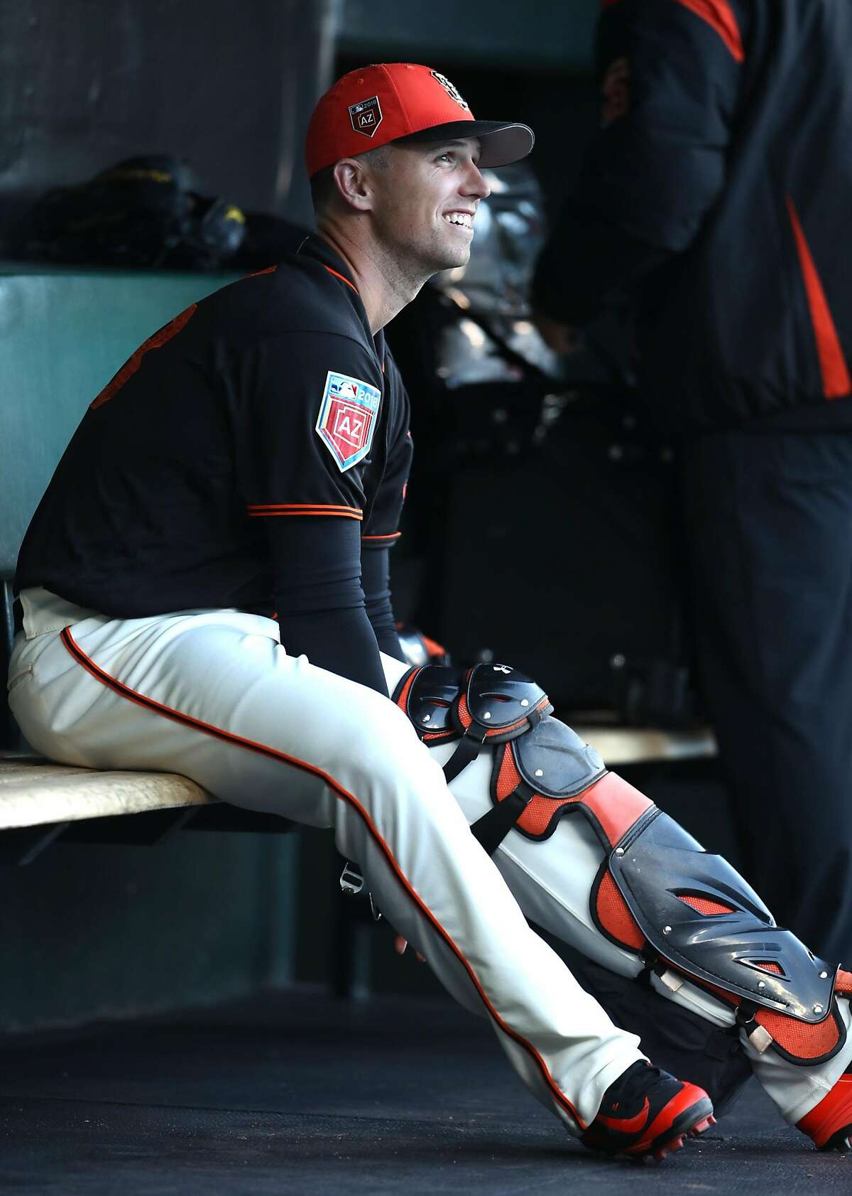 San Francisco Giants' Buster Posey before playing Oakland Athletics during Bay Bridge Series game at AT&T Park in San Francisco, Calif., on Monday, March 26, 2018.